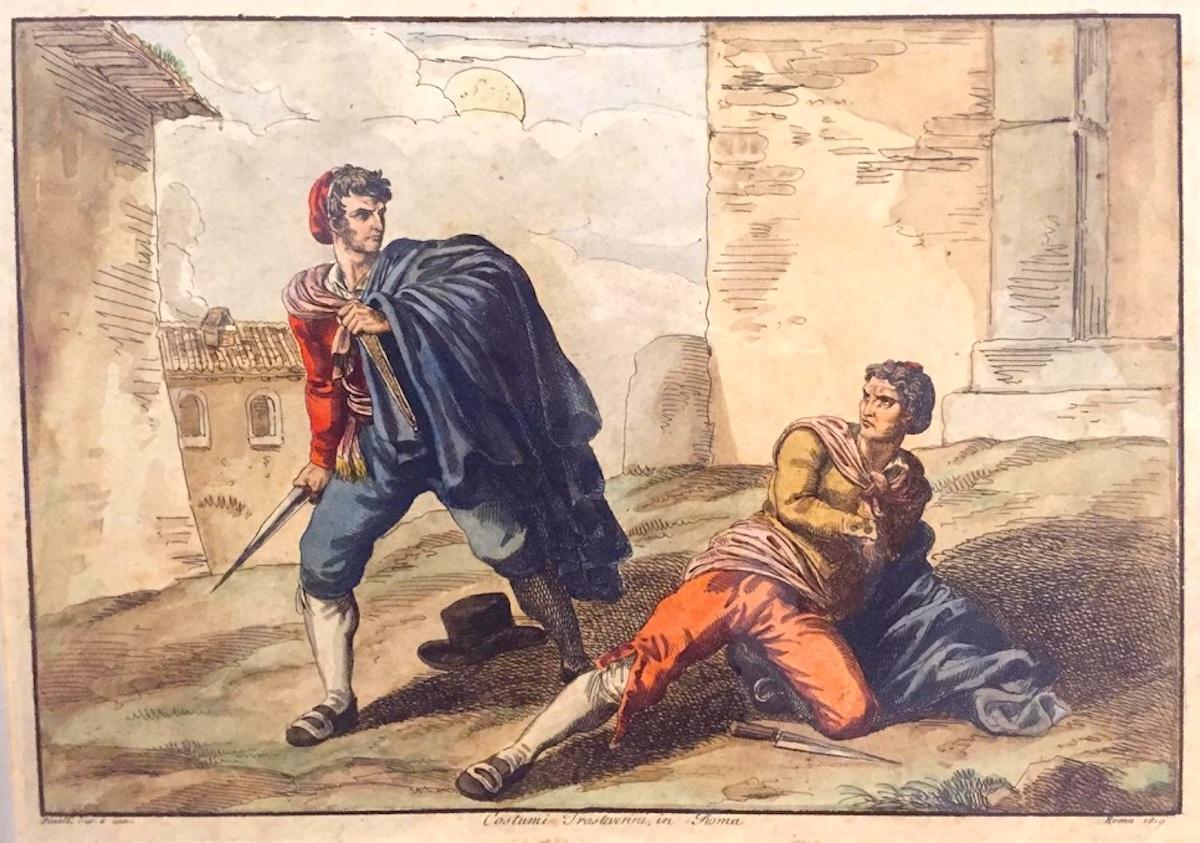 Roma Costumi Trasteverini - Etching by Bartolomeo Pinelli - 1819