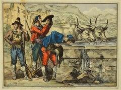 Roman Costume - Original Etching and Waterccolor by Bartolomeo Pinelli - 1820