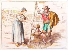 Roman Costumes - Etching by Bartolomeo Pinelli - 1819