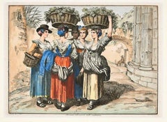 Roman Girls Return from the Harvest - Etching by Bartolomeo Pinelli - 1819