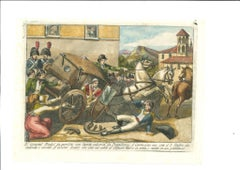 The Departure - Original Etching by Bartolomeo Pinelli - 1850