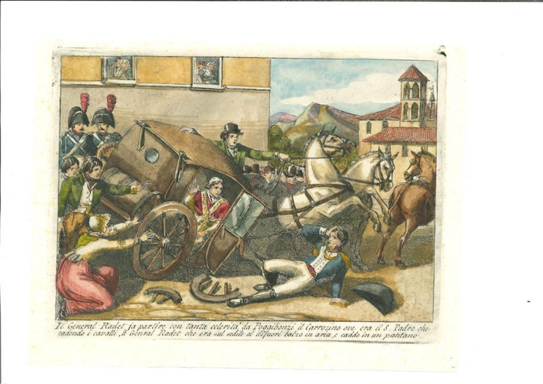 Th Departure - (Original Title: In Partenza - Il General Radet Fa Partire) is an original hand-colored etching  realized by the Italian artist Bartolomeo Pinelli in 1850.  With the description of artwork on the lower in Italian.  Very good