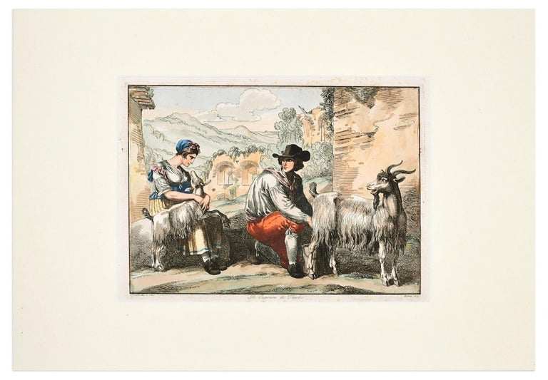 The Goatherd in Tivoli - Etching by Bartolomeo Pinelli - 1819 For Sale 1