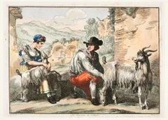 The Goatherd in Tivoli - Etching by Bartolomeo Pinelli - 1819