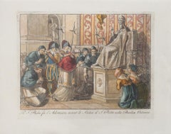 The Holy Father - Adoration - Original Etching after Bartolomeo Pinelli - 1850