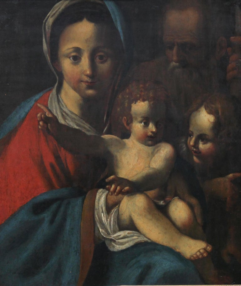 The Holy Family- Italian religious 17thC Old Master oil painting San Giovannino  For Sale 6