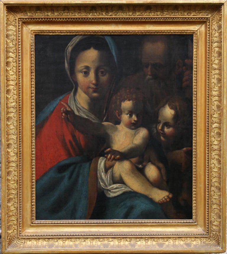 The Holy Family- Italian religious 17thC Old Master oil painting San Giovannino  For Sale 7