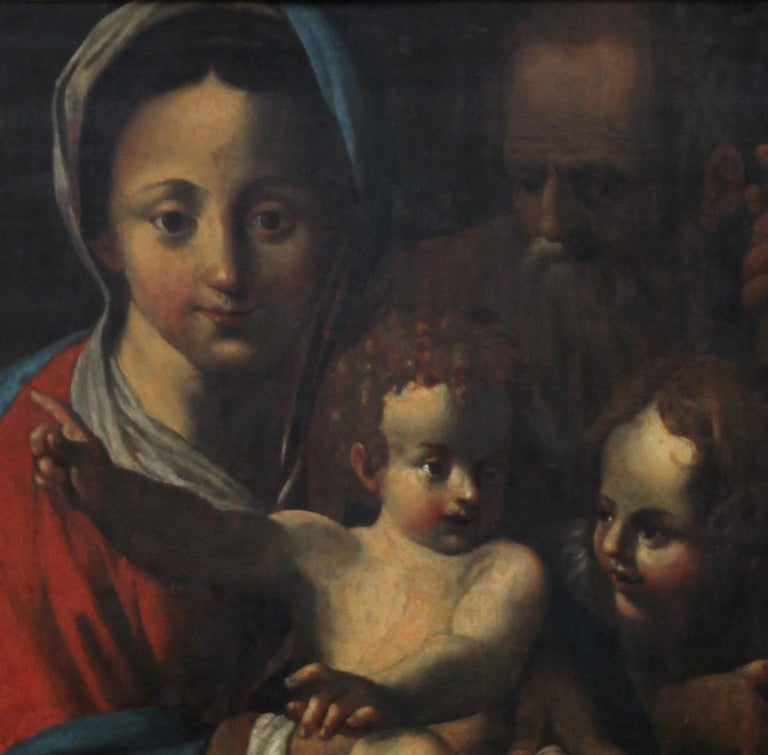 The Holy Family- Italian religious 17thC Old Master oil painting San Giovannino  - Old Masters Painting by Bartolomeo Schedoni (circle)