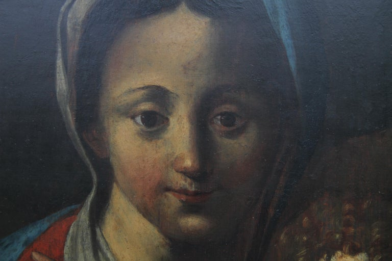 The Holy Family- Italian religious 17thC Old Master oil painting San Giovannino  For Sale 2