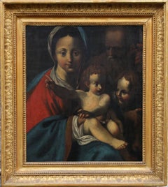 The Holy Family- Italian religious 17thC Old Master oil painting San Giovannino