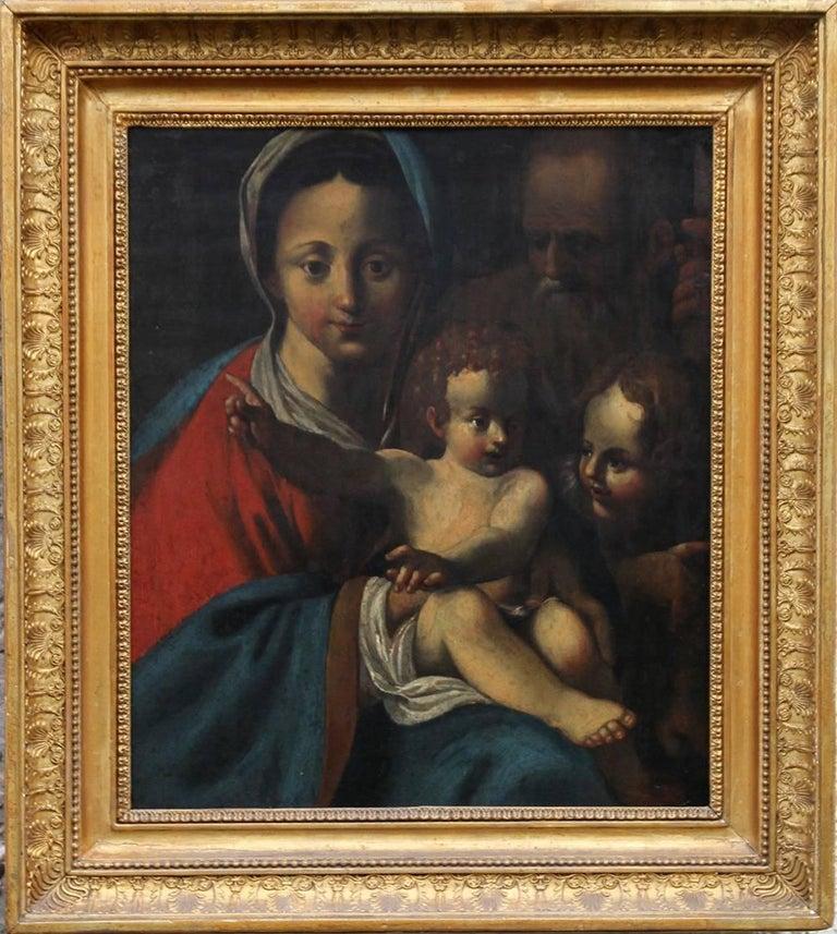 Bartolomeo Schedoni (circle) Portrait Painting - The Holy Family- Italian religious 17thC Old Master oil painting San Giovannino