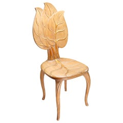 Bartolozzi & Maioli Wooden and Gold Leaf Chair, Italy, 1970s