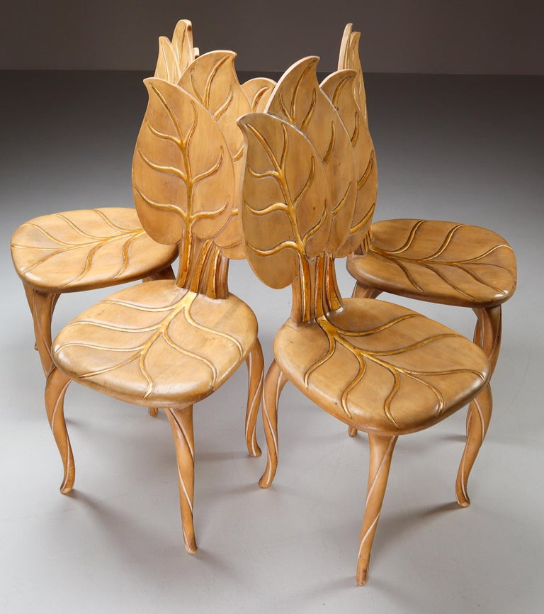 Bartolozzi & Maioli Wooden and Gold Leaf Set of Four Dining Chairs, Italy, 1970s For Sale 4