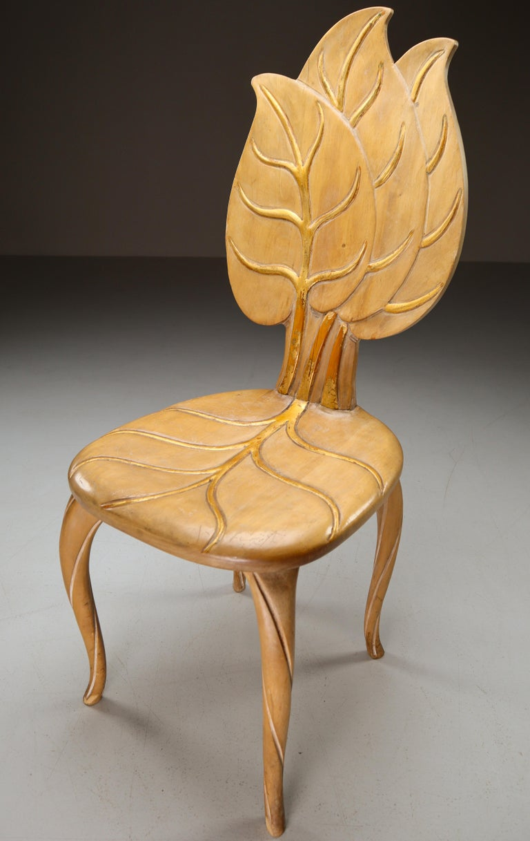 Hollywood Regency Bartolozzi & Maioli Wooden and Gold Leaf Set of Four Dining Chairs, Italy, 1970s For Sale