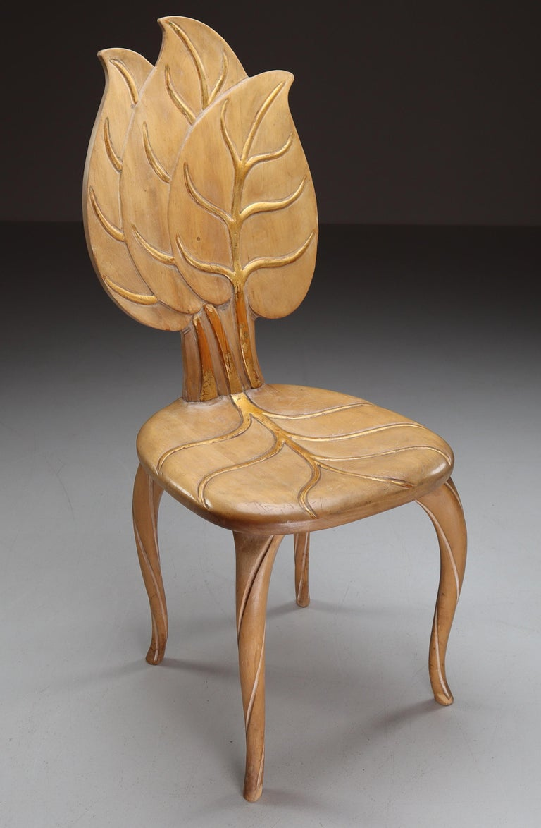 Italian Bartolozzi & Maioli Wooden and Gold Leaf Set of Four Dining Chairs, Italy, 1970s For Sale