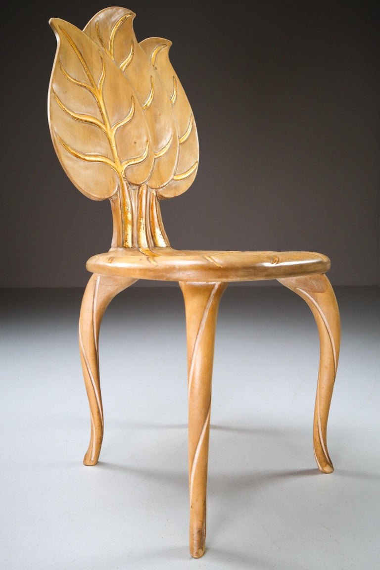 Bartolozzi & Maioli Wooden and Gold Leaf Set of Four Dining Chairs, Italy, 1970s In Good Condition For Sale In Almelo, NL
