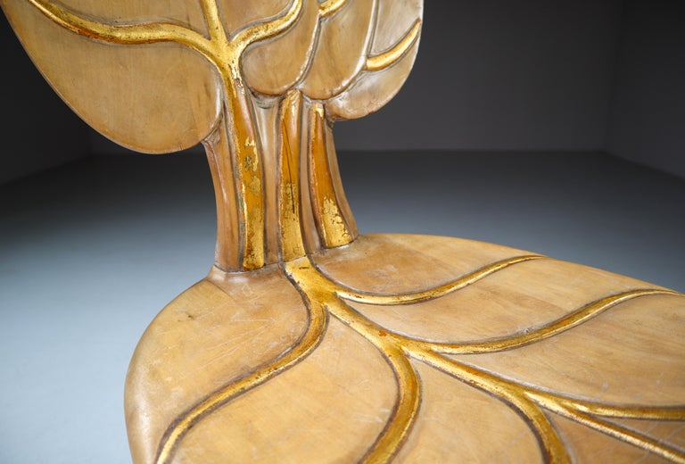 Bartolozzi & Maioli Wooden and Gold Leaf Set of Four Dining Chairs, Italy, 1970s For Sale 2