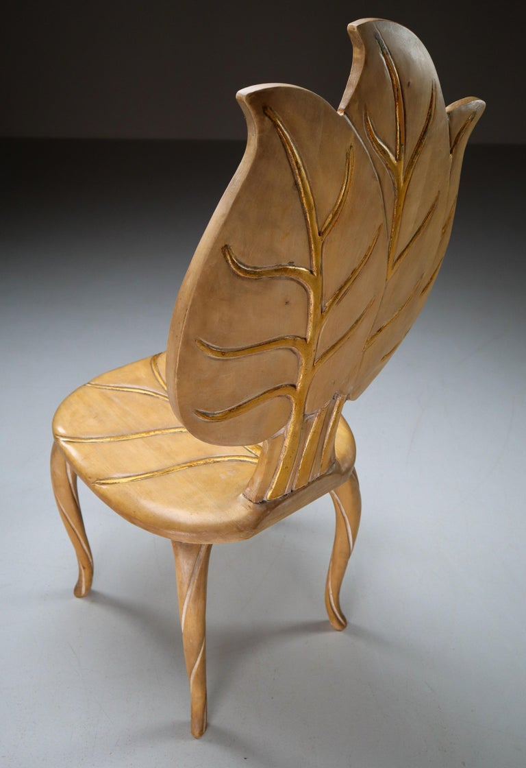 Bartolozzi & Maioli Wooden and Gold Leaf Set of Four Dining Chairs, Italy, 1970s For Sale 3
