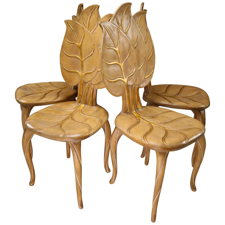 Bartolozzi & Maioli Wooden and Gold Leaf Set of Four Dining Chairs, Italy, 1970s For Sale