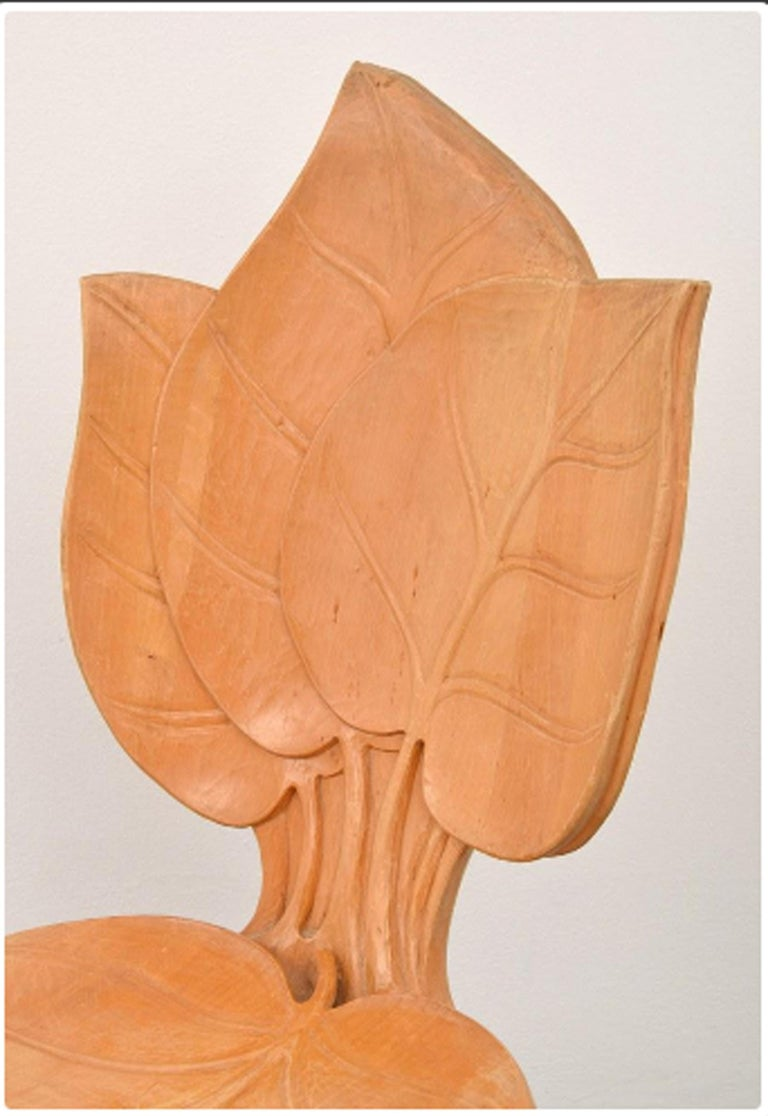 Hollywood Regency Bartolozzi & Maioli Wooden Leaf Chairs Set of Eight Dining Chairs