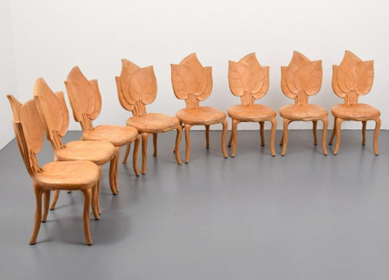20th Century Bartolozzi & Maioli Wooden Leaf Chairs Set of Eight Dining Chairs