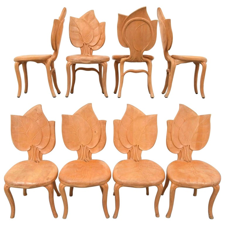 Bartolozzi & Maioli Wooden Leaf Chairs Set of Eight Dining Chairs