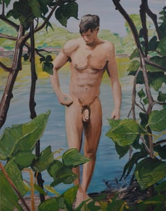 Summer 4 - Contemporary Expressive, Figurative Oil Painting, Male Nude Series