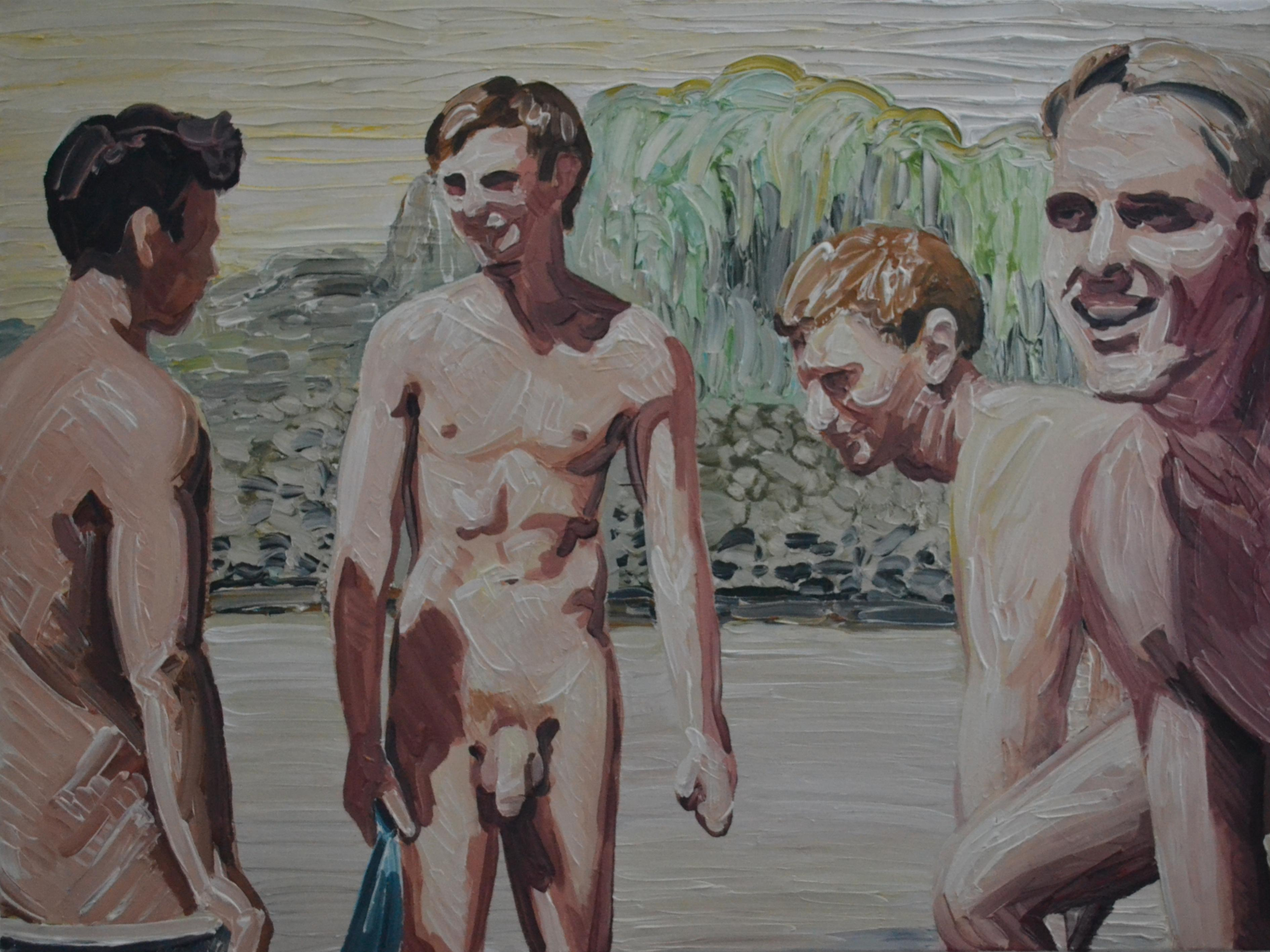 Summer 5 - Contemporary Expressive, Figurative Oil Painting, Male Nude Series