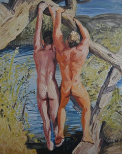 Summer 9 - Contemporary Expressive, Figurative Oil Painting, Male Nude Series