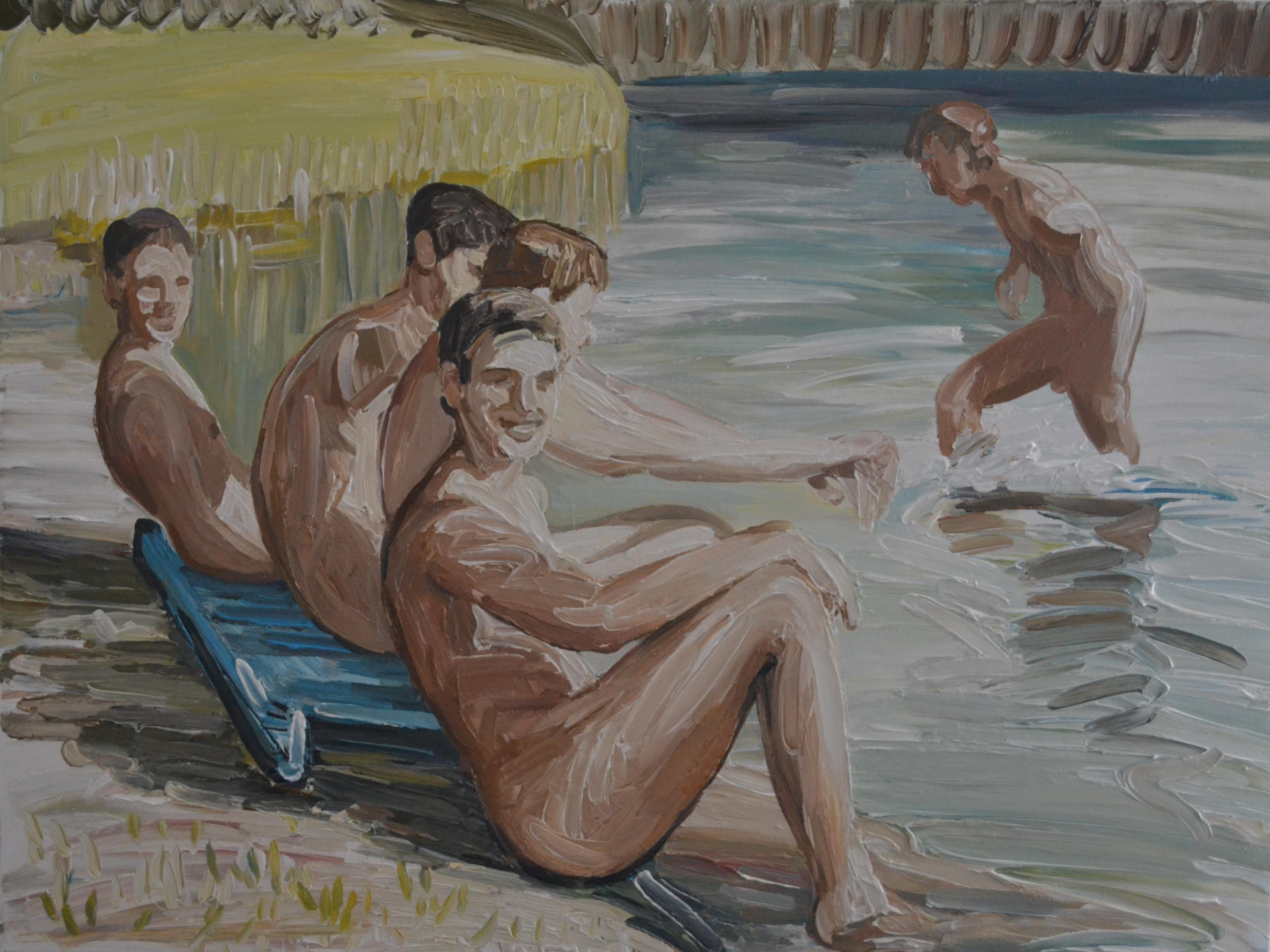 Summer - Contemporary Expressive, Figurative Oil Painting, Male Nude Series