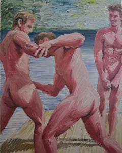 Wrestling 2 - Contemporary Expressive, Figurative Oil Painting, Male Nude Series