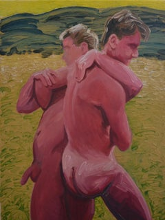 Wrestling - Contemporary Expressive, Figurative Oil Painting, Male Nude Series