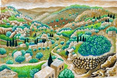Judaica Acrylic Painting Israeli Art Baruch Nachshon Chevron Jerusalem Hills