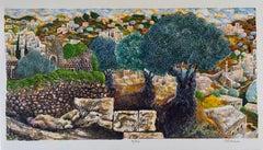 Hebron, Israeli Judaica Lithograph Chevron Landscape, Jerusalem Hills