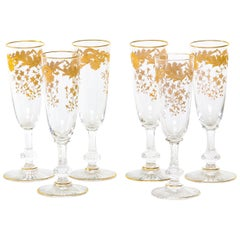 Barware / Tableware Crystal / Gold Flute Service