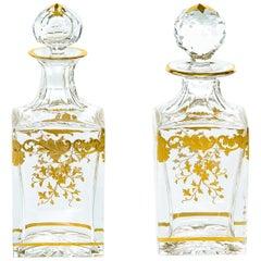 Barware / Tableware Crystal / Gold Pair Decanters