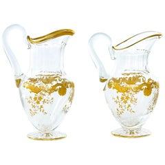 Barware / Tableware Crystal / Gold Pair Pitchers