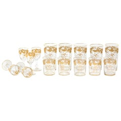 Barware / Tableware Crystal / Gold Set