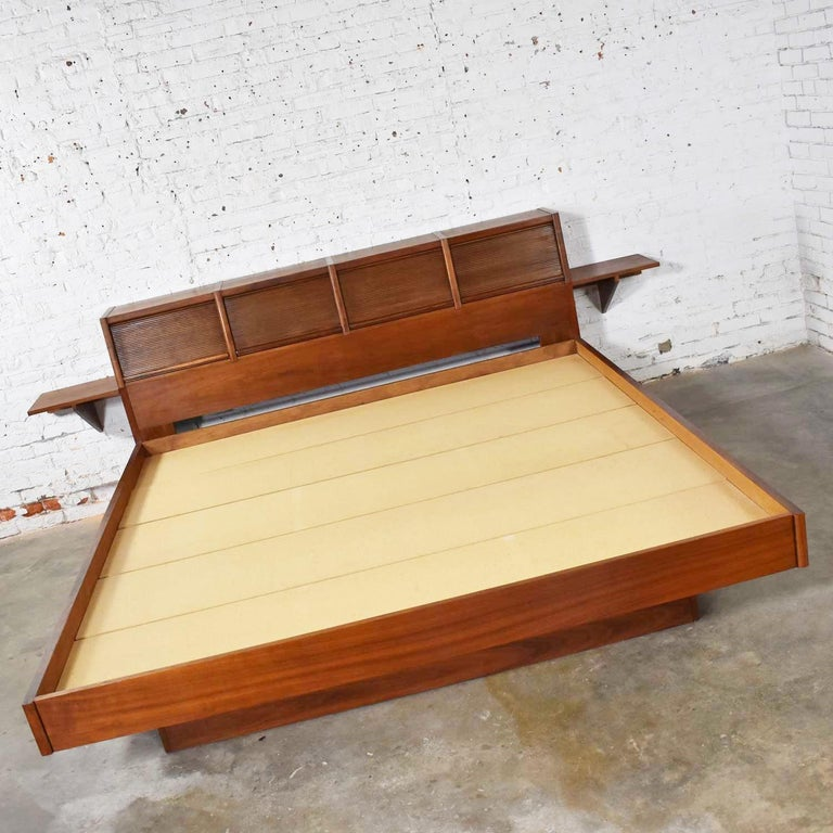 American Barzilay Scandinavian Modern Style King Bookcase Platform Bed with Tambour Doors For Sale