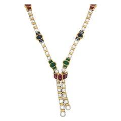 Barzizza 18kt WG/YG Diamond 5.13ct & Gem Stones 13.73 Ct Lariat Necklace
