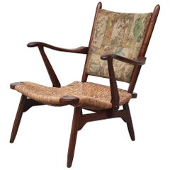 Bas Van Belt Style Low Back Lounge Chair with Rush Seat