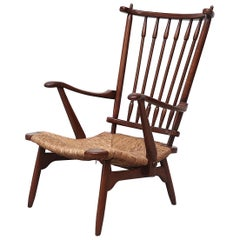 Bas Van Pelt Style Low Back Lounge Chair with Rush Seat