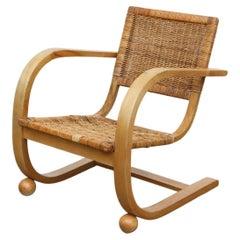 Bas Van Pelt 'Attr' Bent Lounge Chair with Rattan Seat