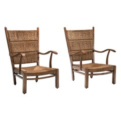 Bas Van Pelt Attributed High Back Armchairs in Oak and Straw, the Netherlands