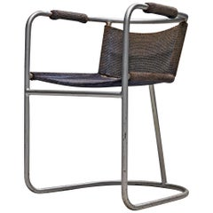 Bas Van Pelt Early Tubular Steel Chair with Blue Sisal Seating