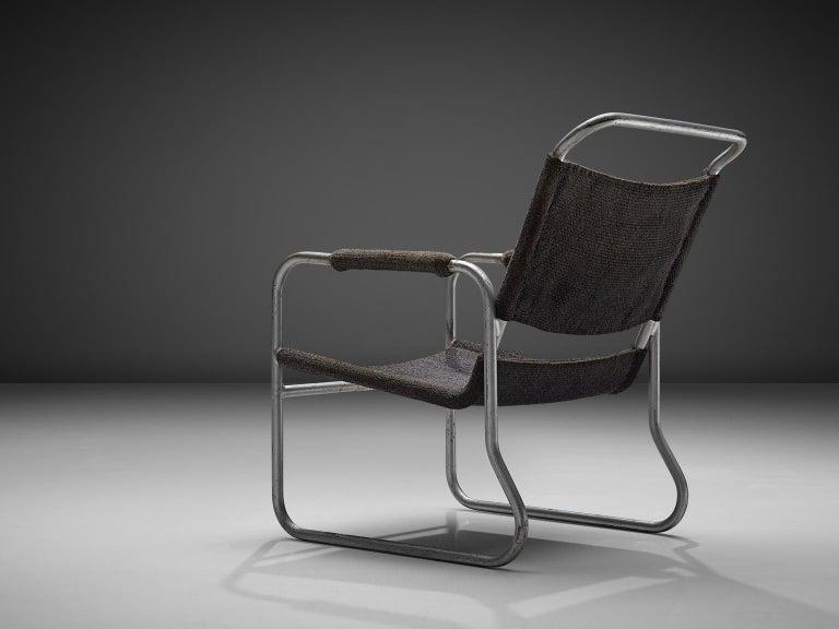 Mid-Century Modern Bas Van Pelt Original Grey Sisal and Tubular Armchair, 1920 For Sale