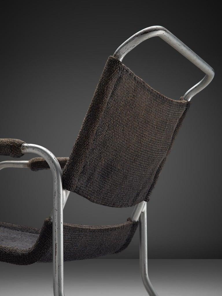 Bas Van Pelt Original Grey Sisal and Tubular Armchair, 1920 In Good Condition For Sale In Waalwijk, NL
