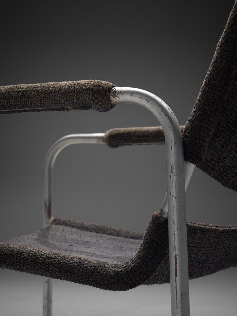 Early 20th Century Bas Van Pelt Original Grey Sisal and Tubular Armchair, 1920 For Sale