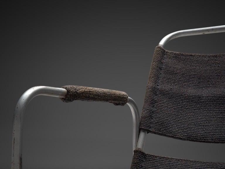Natural Fiber Bas Van Pelt Original Grey Sisal and Tubular Armchair, 1920 For Sale
