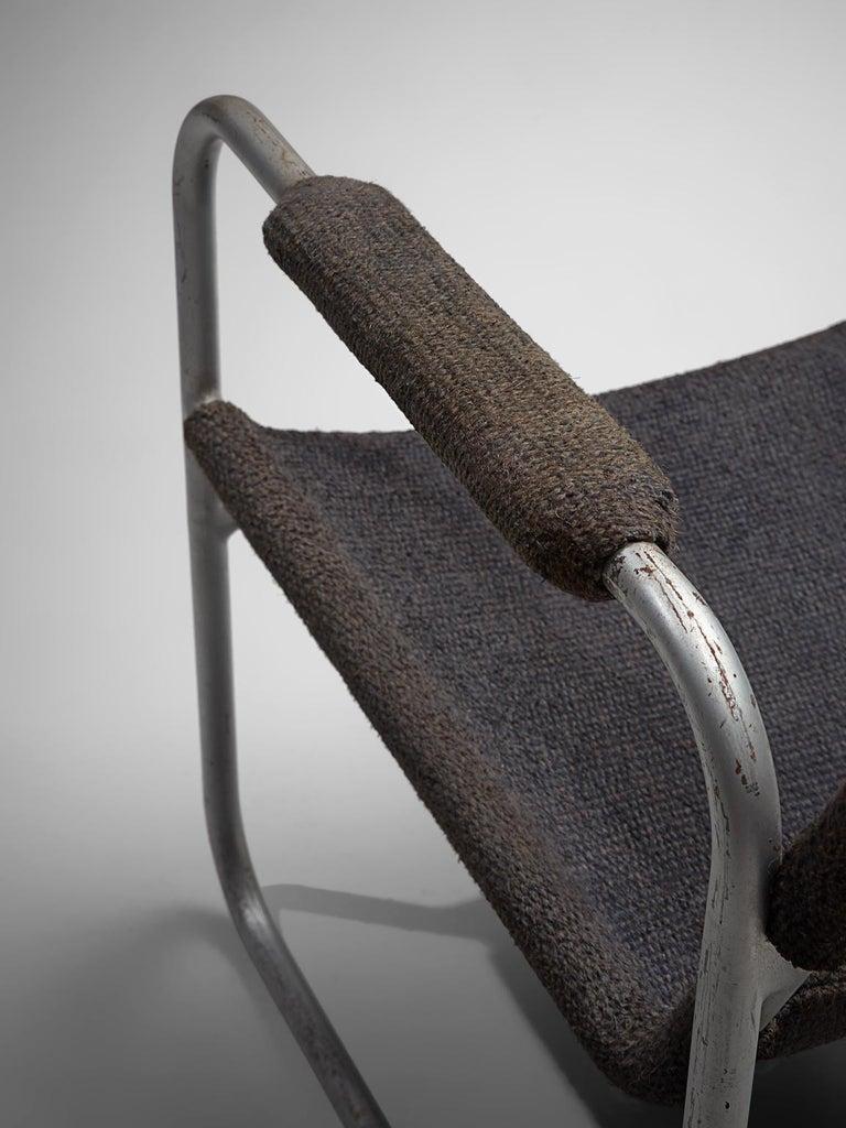 Bas Van Pelt Original Grey Sisal and Tubular Armchair, 1920 For Sale 1